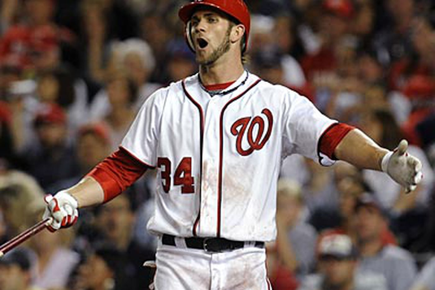 Nationals' Bryce Harper drawing the attention of a phenom