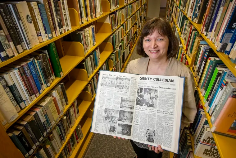 Monica Kuna, director of library services at Bucks County Community College, connected historian and author Marc Stein with campus newspapers that reported on a pre-Stonewall protest related to gay rights and freedom of speech on the Newtown, Pa. campus in 1968.