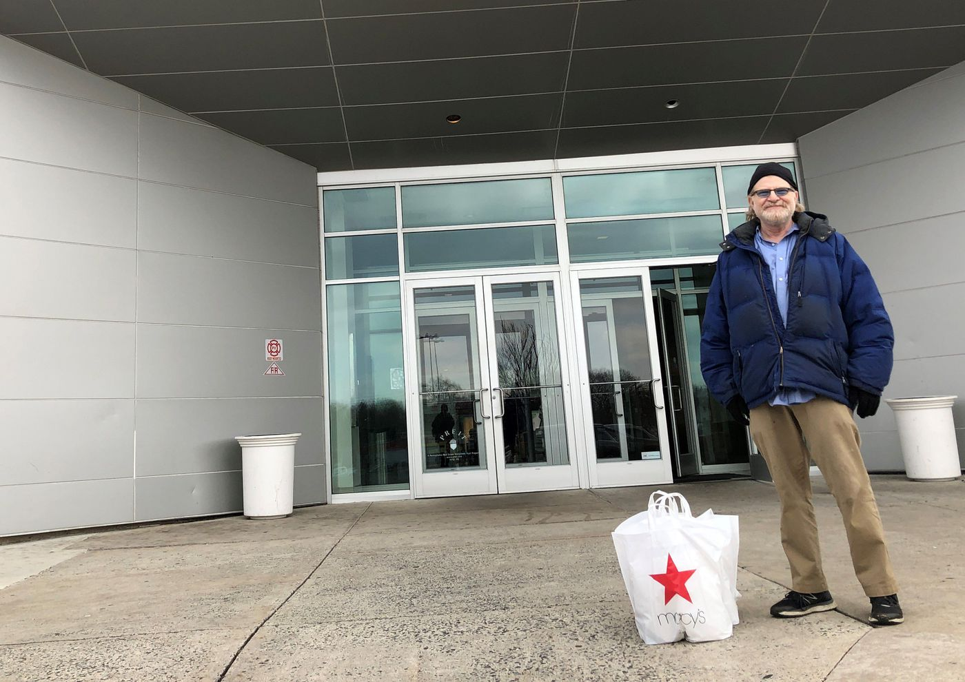 James Beer, of Cherry Hill, leaving the Cherry Hill Mall in South Jersey, Tuesday afternoon, March 17, 2020, shortly after Gov. Phil Murphy said all malls in the state would have to close indefinitely by 8 p.m.