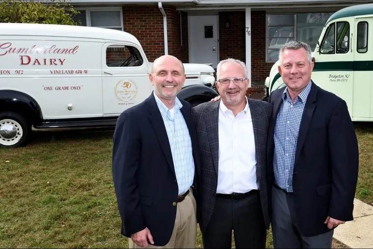 (Left to Right) Frank, Carmine (IV) and David Catalana, third-generation owners of Cumberland Dairy, Bridgeton. The dairy has joined Dairy Farmers of America, a national cooperative based in Kansas City, Kan.