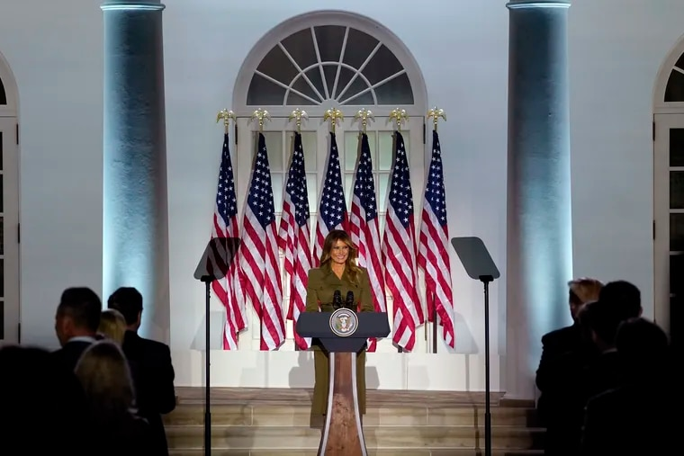 First lady Melania Trump arrives to speak on the second day of the Republican National Convention from the Rose Garden of the White House.