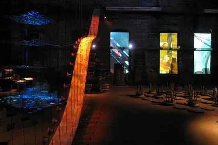 """""""Running True,"""" a sound, film, and sculpture installation by John Phillips and Carolyn Healy at the Disston Saw Works."""