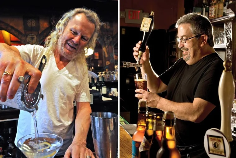 Fergus Carey, left, has expanded his bar holdings while Tom Peters, right, has returned to Monk's Cafe.