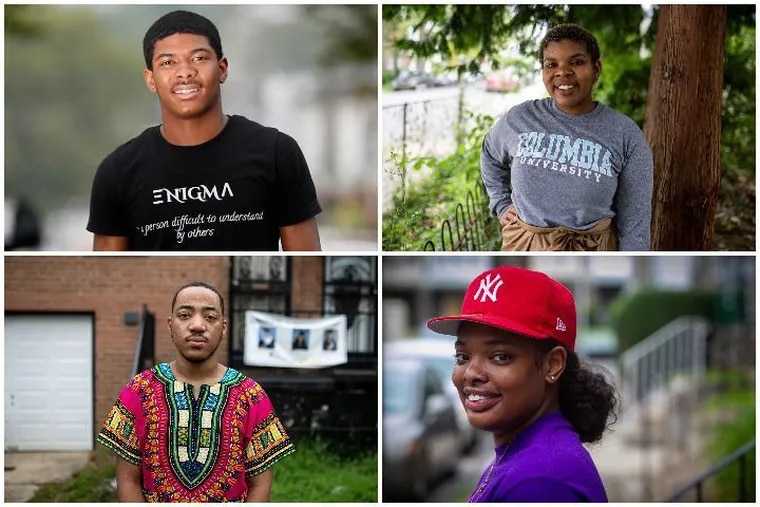 Philadelphia college students who couldn't return to their campuses because of the coronavirus are now grappling with the city's soaring gun violence. Pictured clockwise, from upper left, are Milaj Robinson, Darrien Johnson, Marayah Roher and Horace Ryans III.