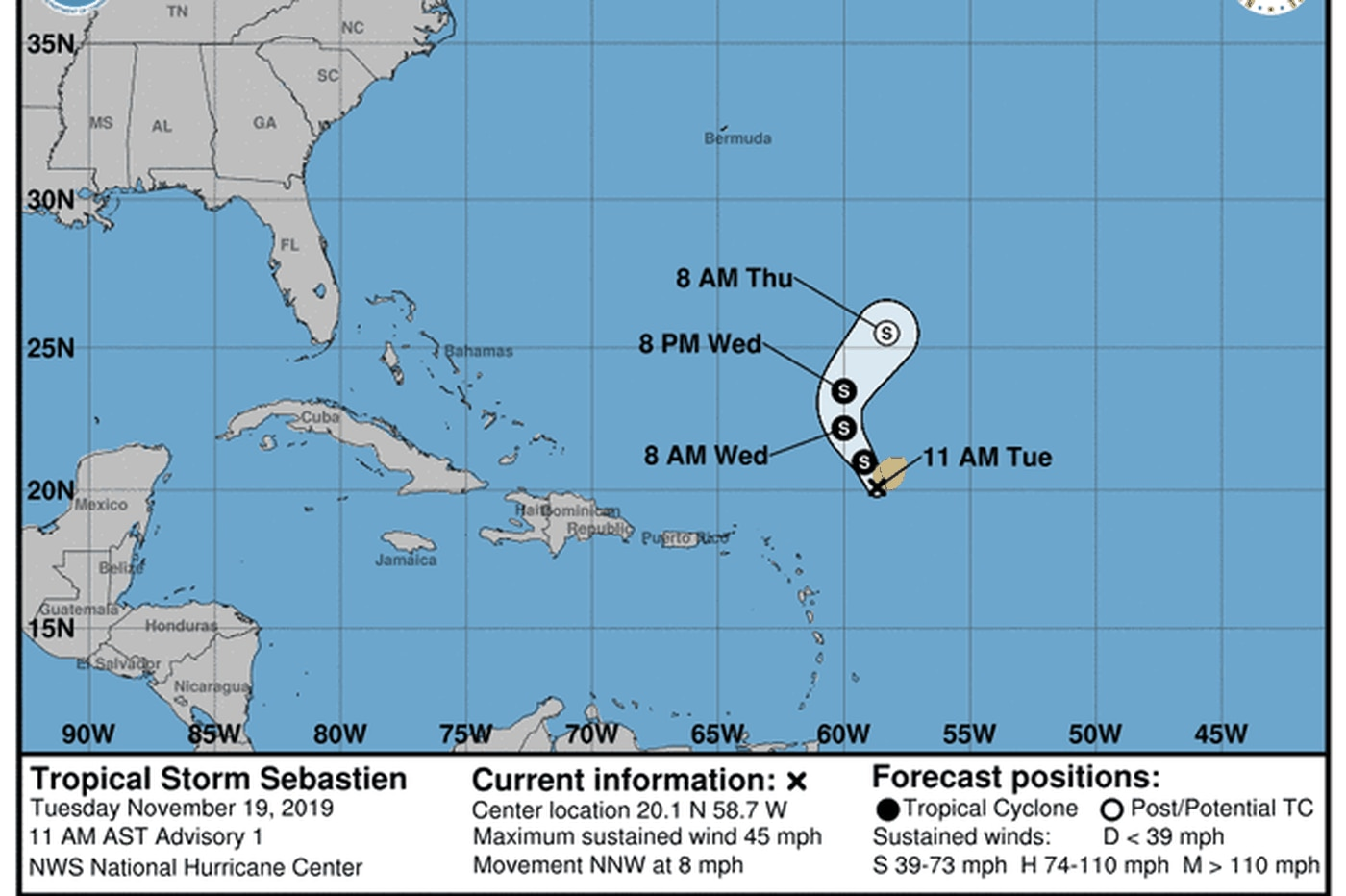 Sebastien becomes 18th named storm of the Atlantic hurricane season, most in seven years