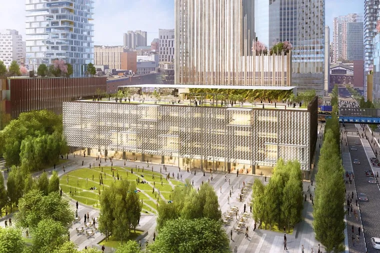 Artist's rendering of planned Drexel Square park with renovated One Drexel Plaza, the former Bulletin Building, in the background.