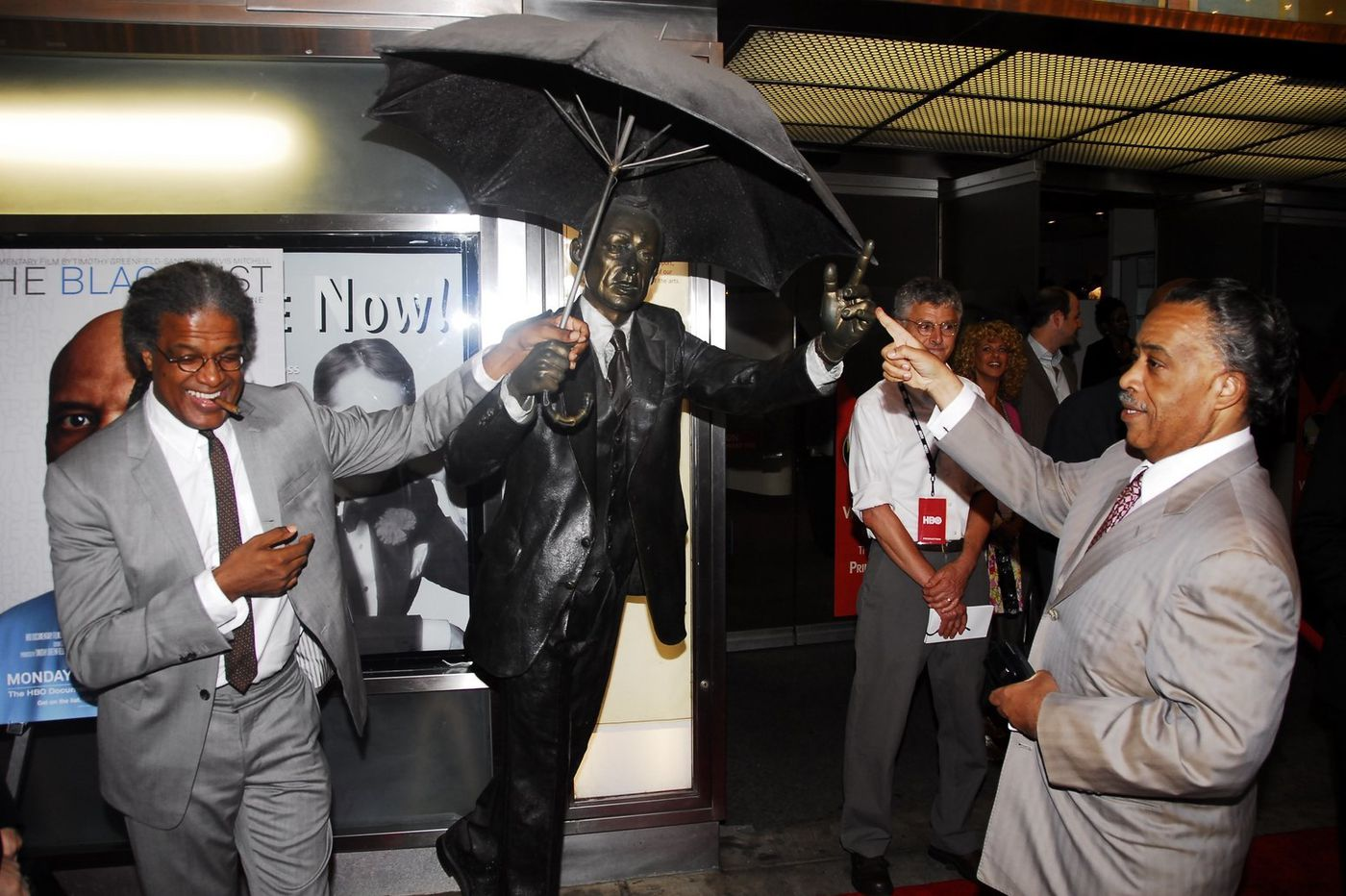 Where is the Umbrella Man statue that used to reside outside the Prince Theater?