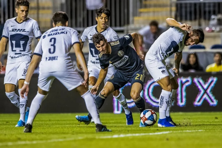 Anthony Fontana dribbles between a few opposing players during the Union's exhibition win over Mexico's Pumas UNAM at Talen Energy Stadium on Sept. 7, 2019.