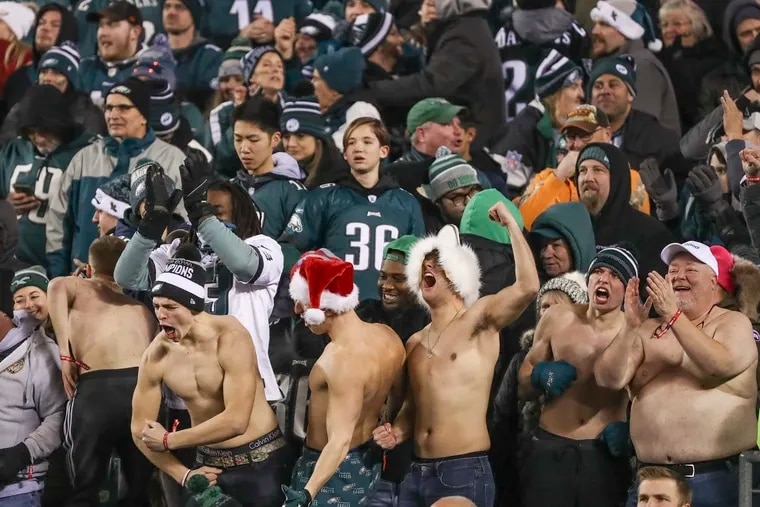 Eagles fans at Lincoln Financial Field celebrating Sunday's big win over the Dallas Cowboys.