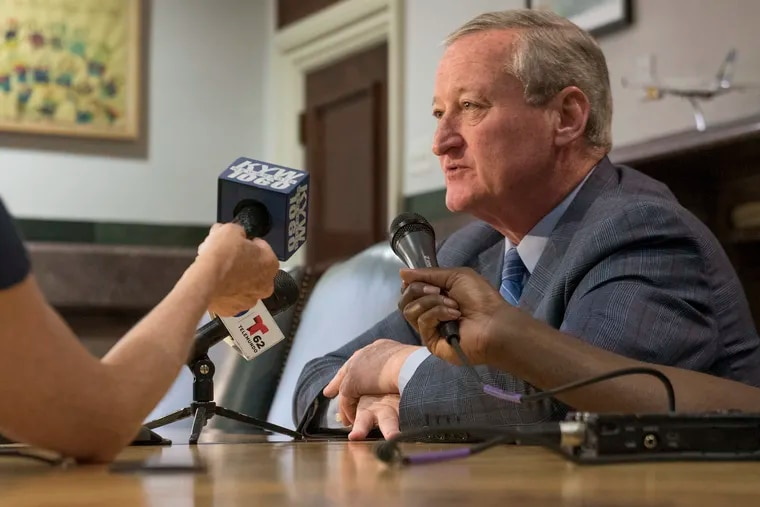 Mayor Jim Kenney speaks to the media about the Occupy ICE protests on Friday, July 6, 2018.