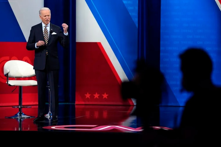 President Joe Biden during a televised town hall event at Pabst Theater in Milwaukee on Tuesday.