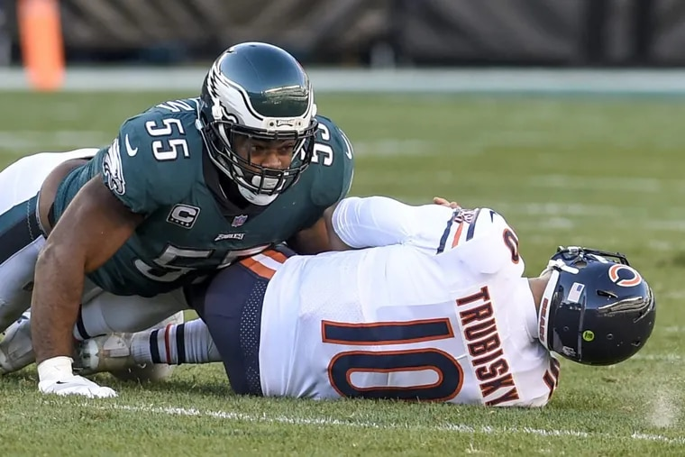 With seven sacks in 2017 – including this one on Chicago Bears quarterback Mitchell Trubisky on Sunday at Lincoln Financial Field – Philadelphia Eagles defensive end Brandon Graham earned an extra $250,000 this season and next.