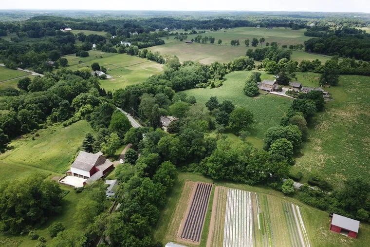 Aerial view of Rushton Woods Preserve and surrounding land.  The preserve is owned by the Willistown Conservation Trust in Chester County. DAVID SWANSON / Staff Photographer