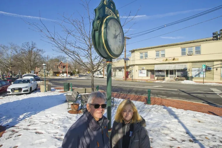 """Riverton, NJ Mayor Suzanne Cairns Wells and borough councilman Armand """"Butch""""Bianchini stand in the heart of the Burlington County borough's business district."""