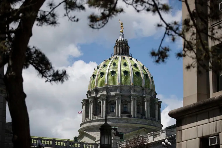 Shown is the Pennsylvania Capitol in Harrisburg, Pa., Monday, May 6, 2019.