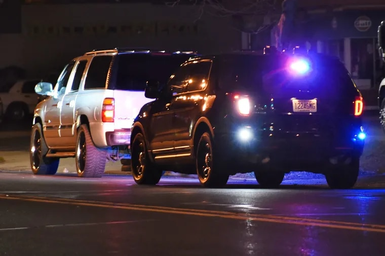 A police stop on the White Horse Pike in Oaklyn, N.J.