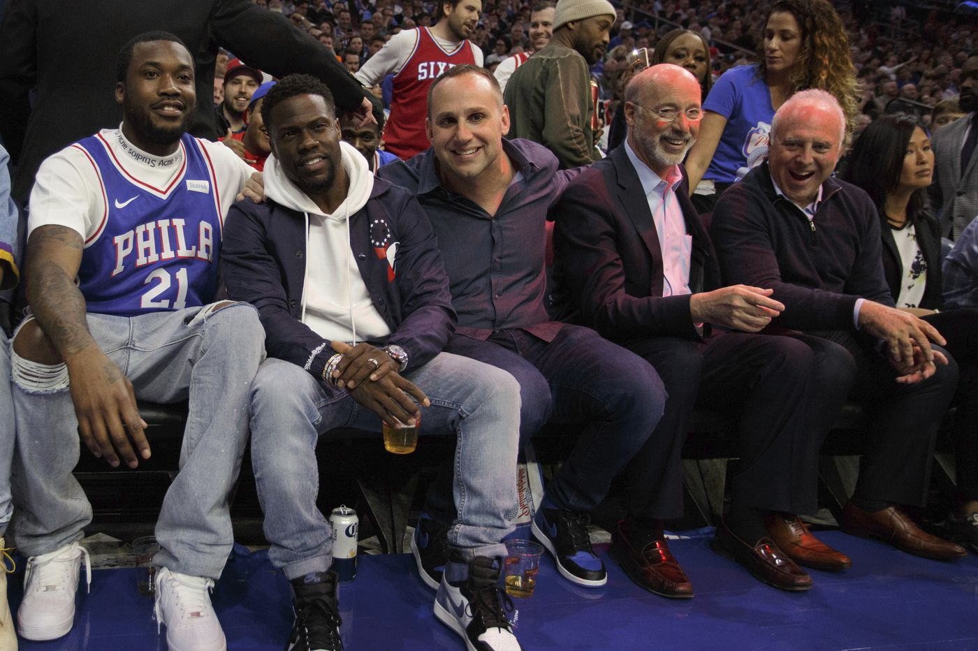 Lending a hand? Sixers partner Michael Rubin is ALL IN.