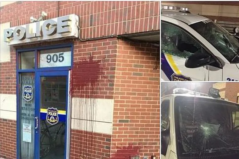 Philadelphia Police Ofc. Victor McKnight posted photos of the damage to a South Street police mini station on Facebook.