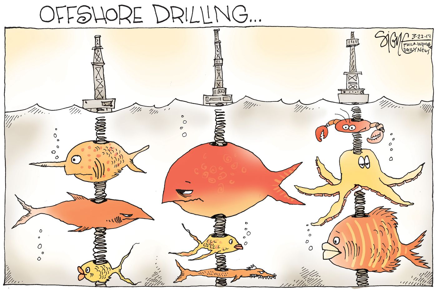 Political Cartoon: Offshore drilling for fish