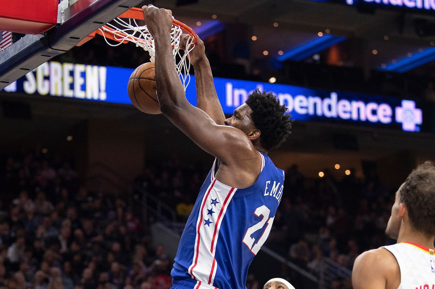 Joel Embiid scores a career-high 49 points as the Sixers beat Atlanta, 129-112
