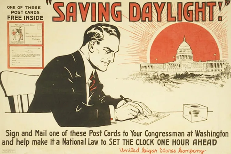 A poster from 1918 encourages citizens to write a postcard and lobby Congress in support of daylight saving time.