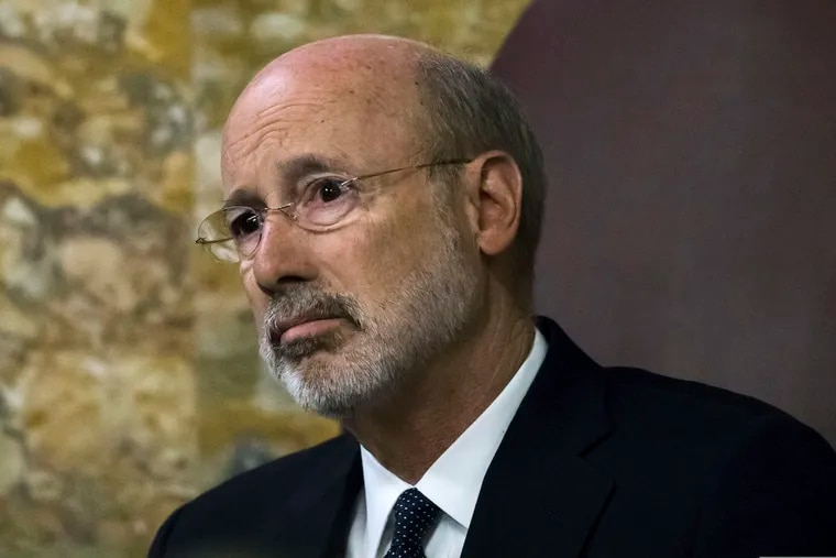 FILE - Gov. Tom Wolf in an April 2019 file photo. Arts groups say he has directed at least some state agencies to rescind grant money previously awarded to state arts groups.