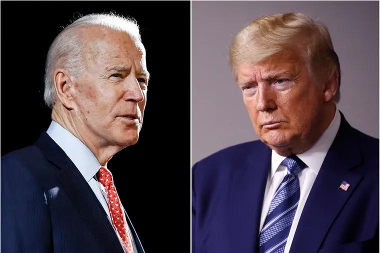 Joe Biden (left) and President Donald Trump