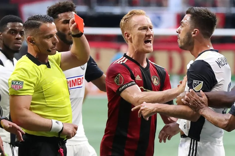 Referee Storin Stoica gave Philadelphia Union midfielder Haris Medunjanin a red card during the first half of Saturday's game at Atlanta United.