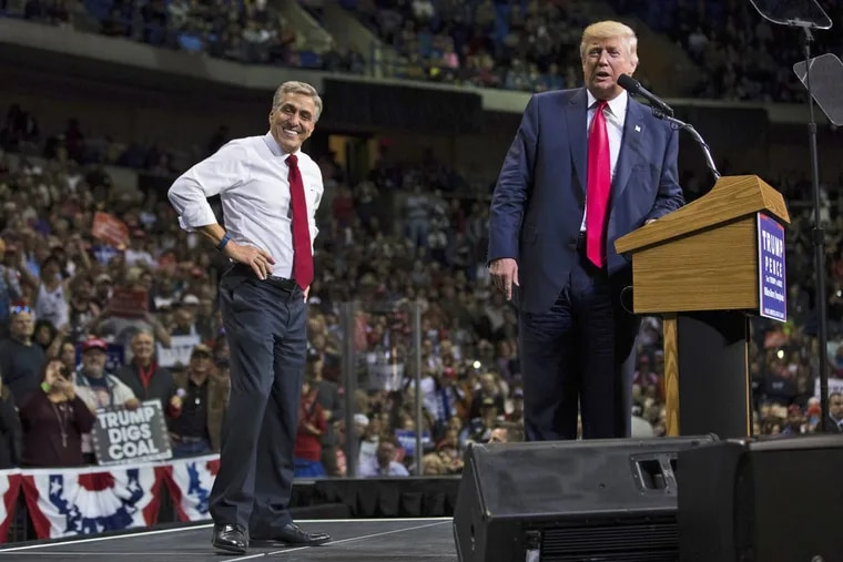 U.S. Rep. Lou Barletta with Donald Trump at the Mohegan Sun Arena in Wilkes-Barre during the presidential campaign.