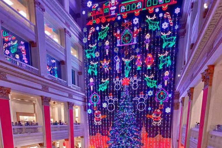 A Philadelphia tradition , the Christmas Light Show just above the eagle at Macy's in Center City is narrated by Julie Andrews. G. WIDMAN / GPTMC
