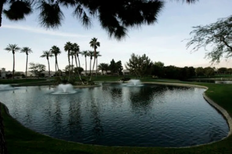 The Mountain Vista golf course in Palm Desert, Calif., uses recycled water. A study shows that the Coachella Valley, which includes Palm Springs and other resort cities, has dropped as much as a foot as groundwater is sucked from the earth.