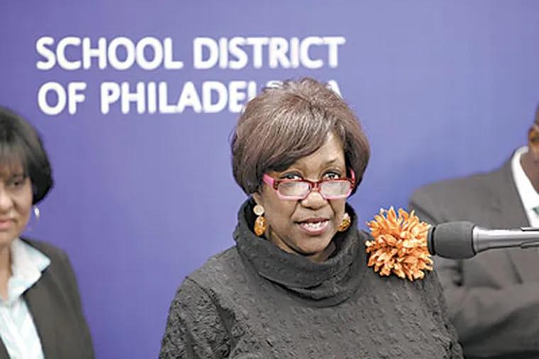 Superintendent Arlene C. Ackerman holds a press conference last week. (David Swanson / Staff Photographer)