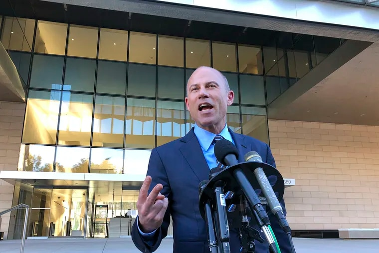 """Michael Avenatti, lawyer for porn actress Stormy Daniels, speaks to reporters outside federal court in Los Angeles Monday, Dec. 3, 2018. He said that demands by lawyers for President Donald Trump for legal fees amounting to nearly $800,000 for filing a failed defamation lawsuit against him were """"absurd and outrageous."""" Trump attorney Charles Harder told a federal judge in Los Angeles Monday that his firm put in more than 500 hours on the case. Daniels alleges she had an affair with Trump in 2006. She sued him after he dismissed her claims of being threatened to keep quiet about the tryst as a """"total con job."""" (AP Photo/Brian Melley)"""
