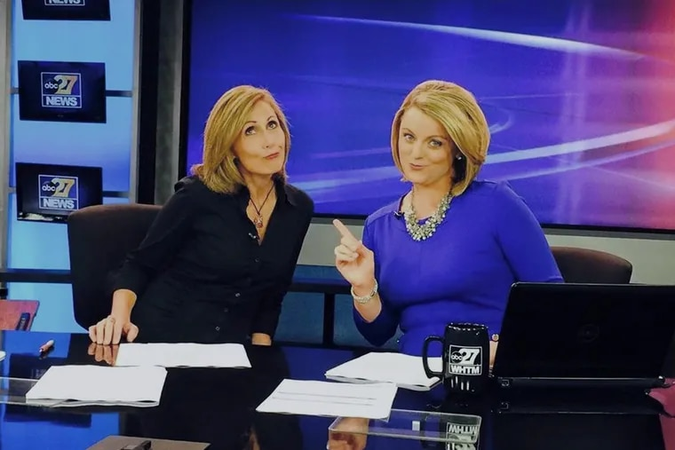 Longtime abc27 anchor Flora Posteraro (left), seen her joking with former colleage Ali Lanyon, claims she was forced out of the station after complaining internally about misconduct by station manager Robert Bee.
