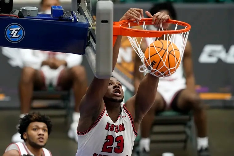 Western Kentucky center Charles Bassey dunks during the second half against Louisiana Tech in the quarterfinals of the NIT, Thursday, March 25, 2021, in Frisco, Texas.