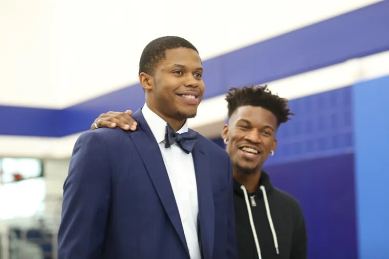 Justin Patton, pictured at his and Jimmy Butler's introductory press conference back in November, is the Sixers' only healthy center at the moment.