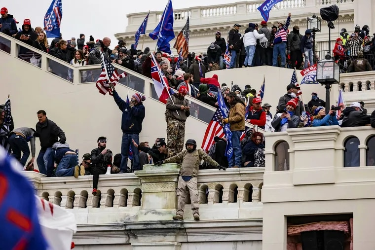 Pro-Trump supporters storm the U.S. Capitol following a rally with President Donald Trump on Wednesda.