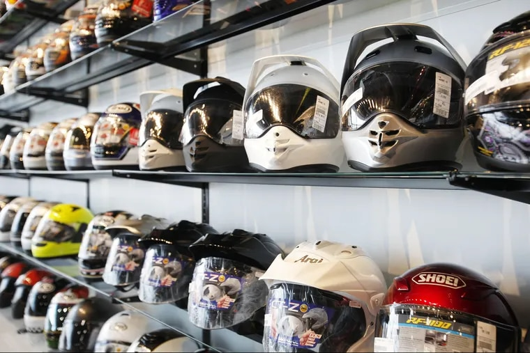 Customers can try on gear like these helmets in a unique 4,500 square-foot retail store. RevZilla is the largest online retailer of motercycle gear, located in the Philadelphia Naval Business Center.