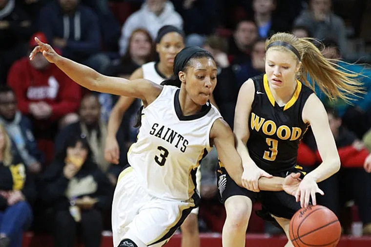 Shannon May of Archbishop Wood (left). (Charles Fox/Staff Photographer)