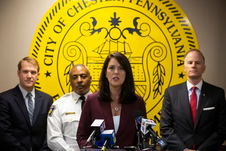 File photo shows Katayoun Copeland, Delaware County district attorney, speaking at a news conference on Wednesday, Oct. 30, 2019.