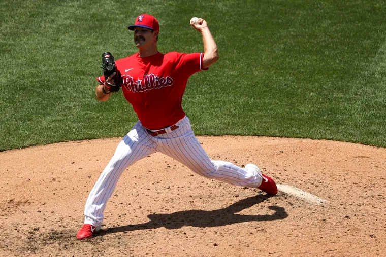 Adam Morgan throws during a Phillies scrimmage at Citizens Bank Park on July 9.