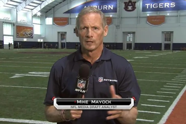 NFL Network draft expert Mike Mayock has interviewed for an opening in the front office of the Oakland Raiders, where he would report directly to Jon Gruden.