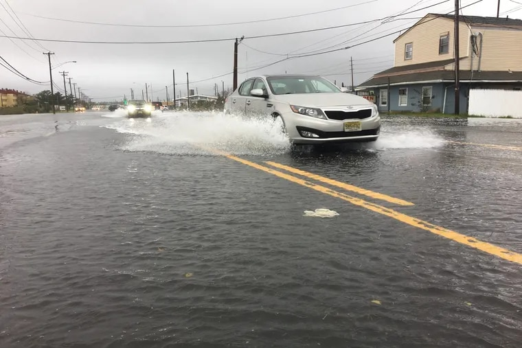 File: Flooding along Black Horse Pike, Rt 322 heading into Atlantic City from a heavy rain on October 27, 2018. Scientists with Climate Central say more such flooding is threatening affordable housing in areas such as Atlantic City.