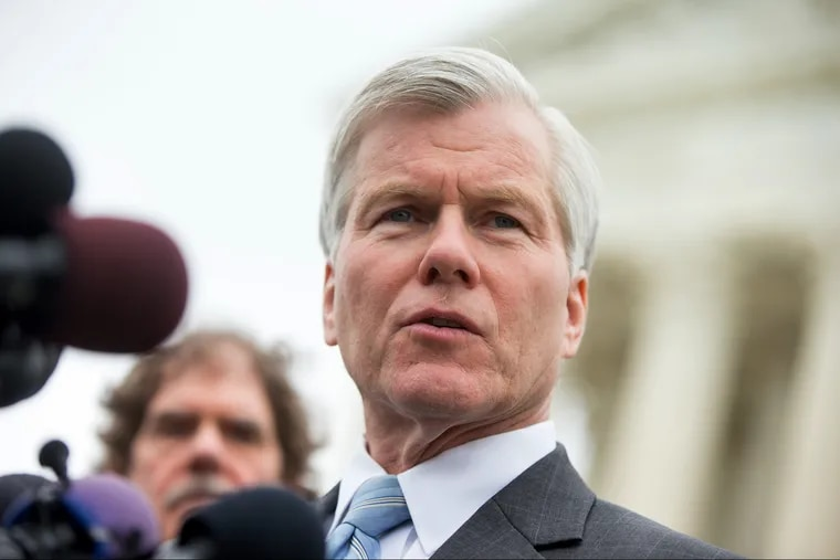 Former Virginia Gov. Bob McDonnell spoke outside the Supreme Court in Washington,  after the Supreme Court heard oral arguments in his corruption case in 2016.