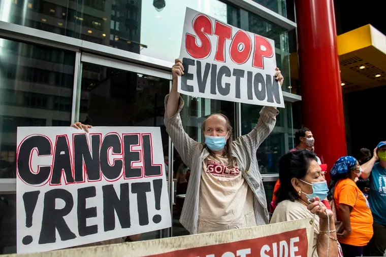 In this Aug. 4 photo, housing advocates protested on the eviction moratorium in New York.