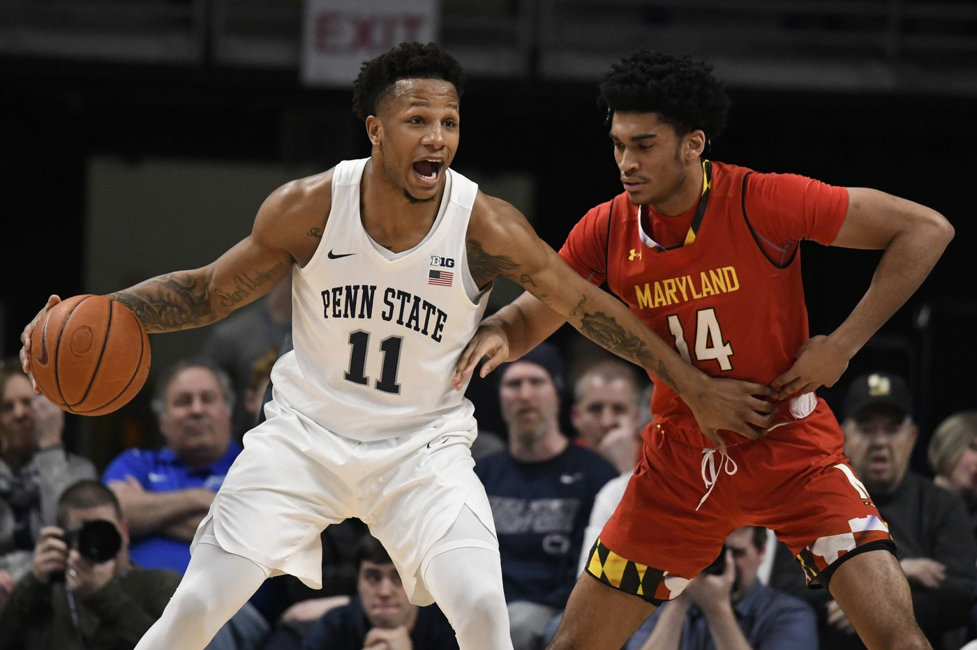 Penn State freshman Seth Lundy is learning from fellow Roman Catholic grad Lamar Stevens