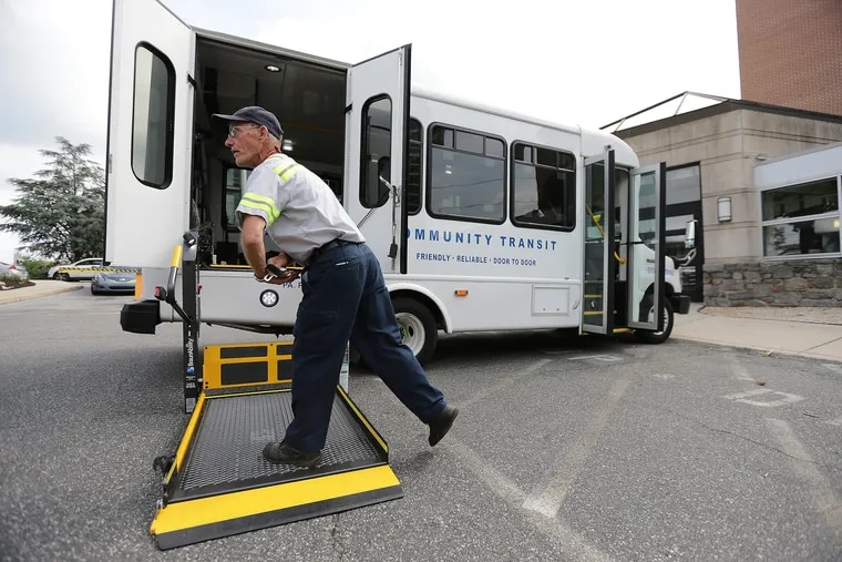 Community Transit of Delaware County driver Mike Williams Sr. prepares to pick up a passenger at Crozer-Chester Medical Center in Chester.