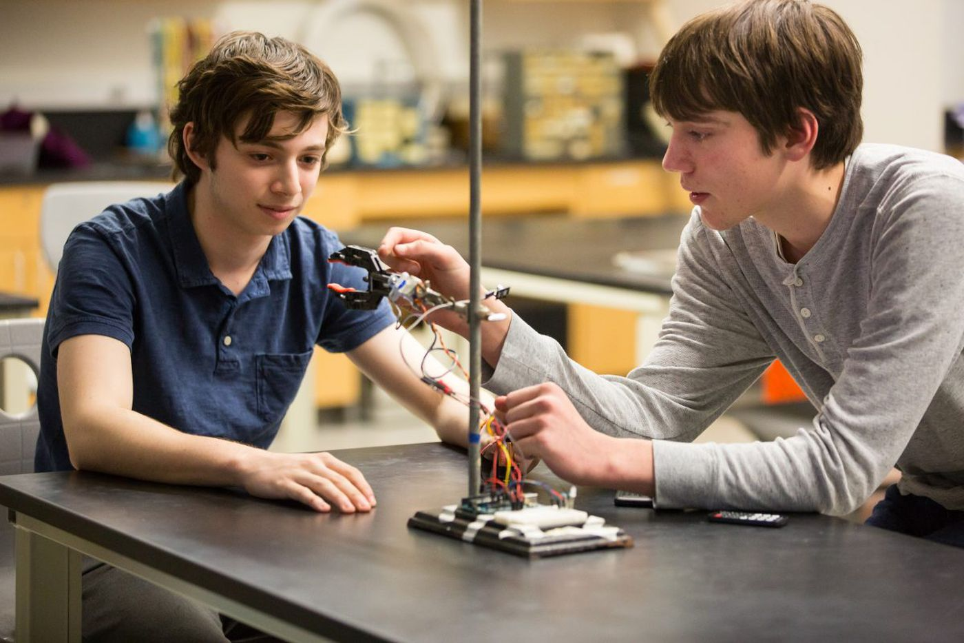 A robotic claw that plays rock-paper-scissors? Germantown Friends students built one