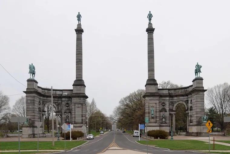 Smith Memorial Arch, an 1898 Civil War monument, serves at the gateway to Fairmount Park.