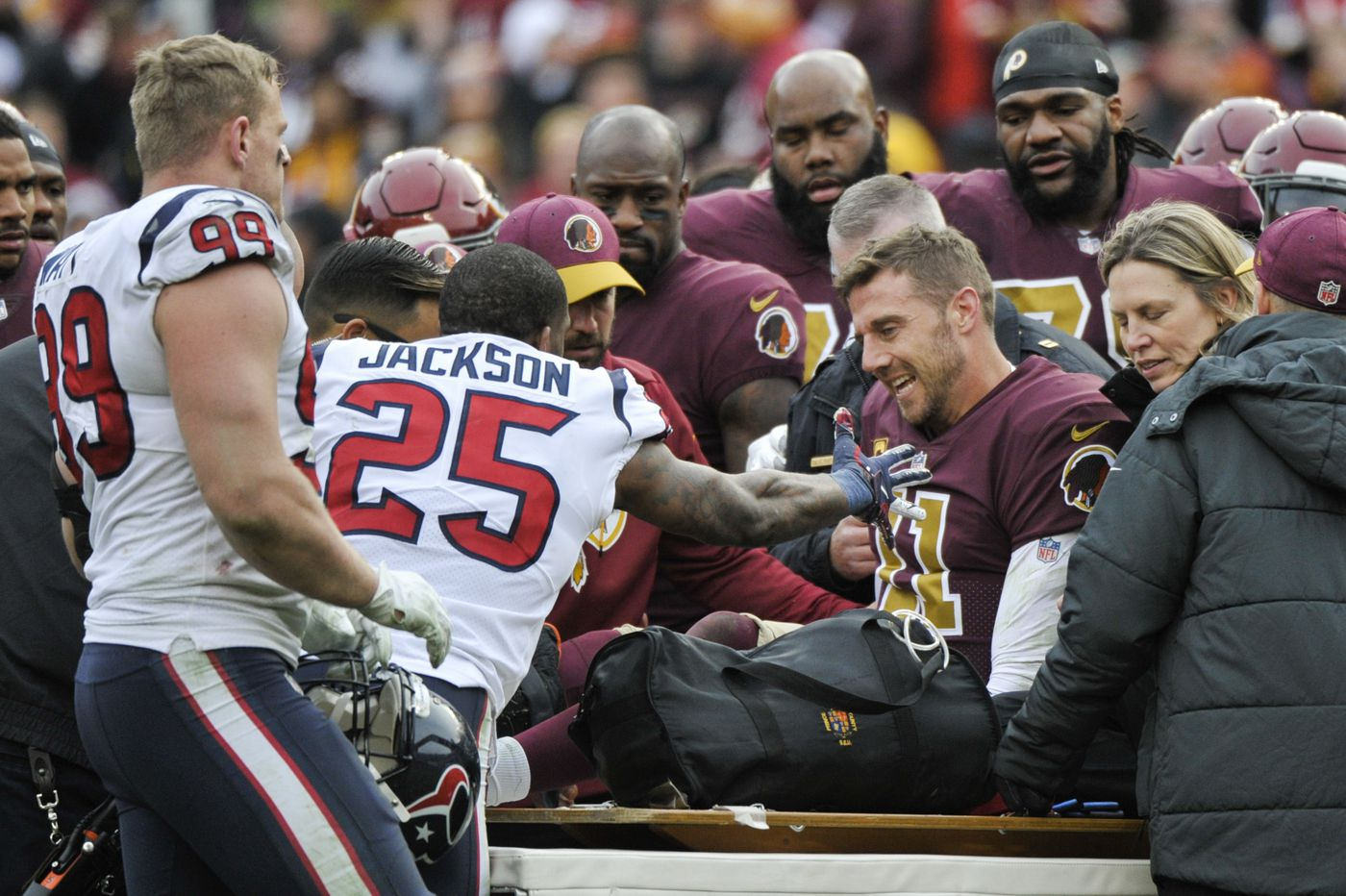 Redskins QB Alex Smith out for season after suffering serious leg injury in loss to Texans